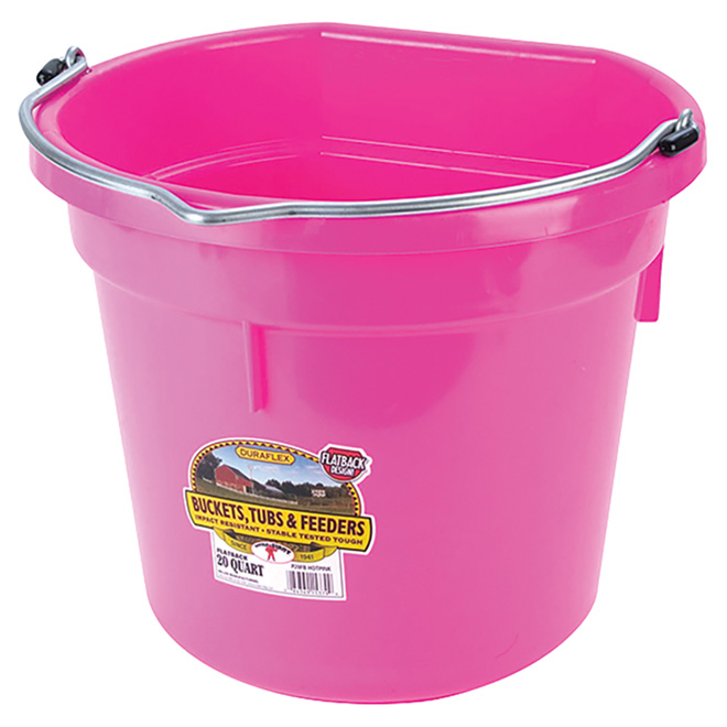 Flat-Back Bucket - Plastic - 5 Gallons - Hot Pink