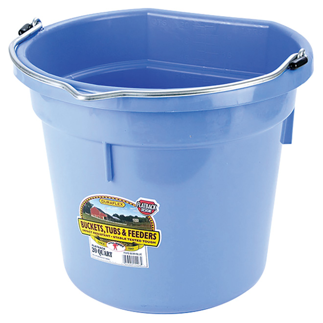 Flat-Back Bucket - Plastic - 5 Gallons - Berry Blue