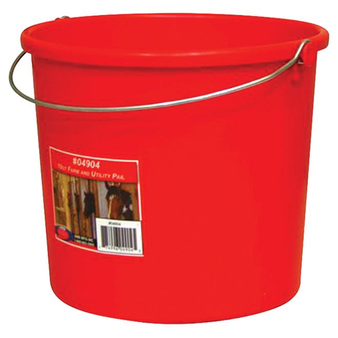 Utility Pail - Plastic - 9.46 L - Red