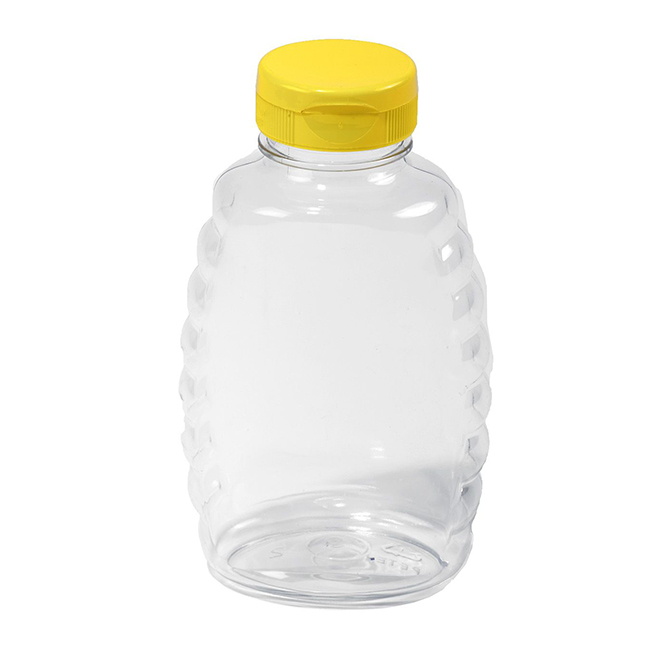 Skep-Style Plastic Honey Bottle with Lid - 16 oz