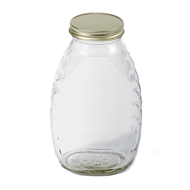 Skep-Style Glass Honey Bottle with Lid - 1 lb Capacity