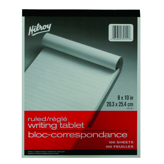 """Hilroy Ruled Paper Pad - 8"""" x 10"""" - 100 Sheets"""