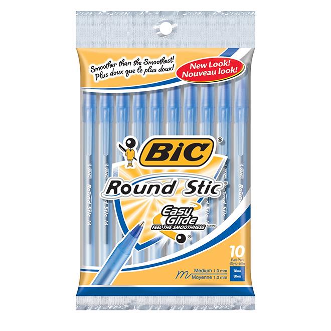 Ballpoint Pens - Round Stic - Medium - Blue - 10 Pack