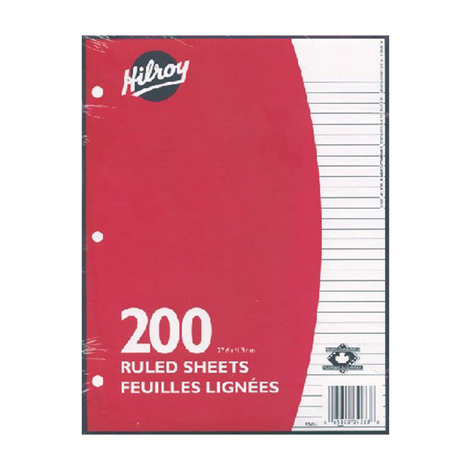 """Refill Paper - 3 Hole - Lined - 200 Sheets - 8 1/2"""" x 11"""""""