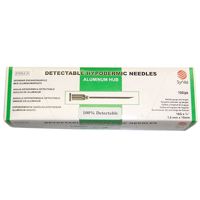 Detectable Hypodermic Needles - Aluminum Hub - 16 GA - 3/4""