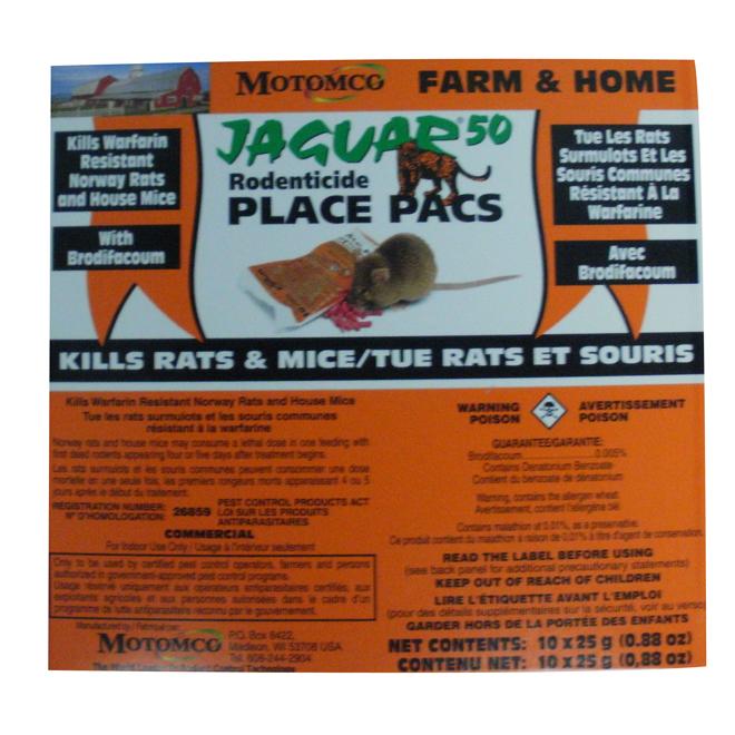 Rodenticide Jaguar Place, 25 g, paquet de 10