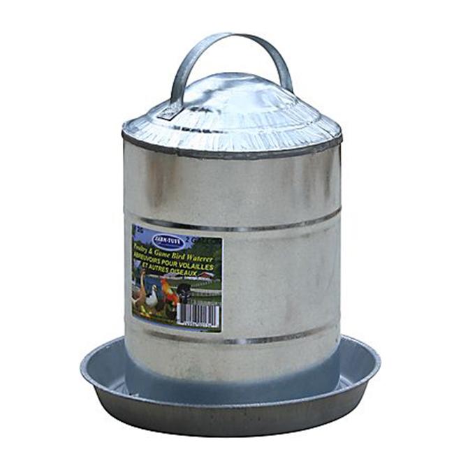 Poultry Fountain - Galvanized Steel - 2 Gallon