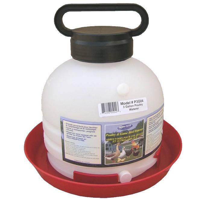 Abreuvoir pour volaille avec poignée, 3 gallons