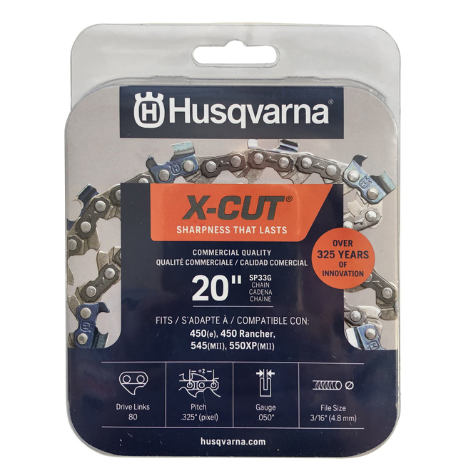 Chaîne pour scie mécanique X-Cut SP33G Husqvarna, pas de chaîne de 3/8 po, calibre de 0,05 po, longueur du guide 20 po
