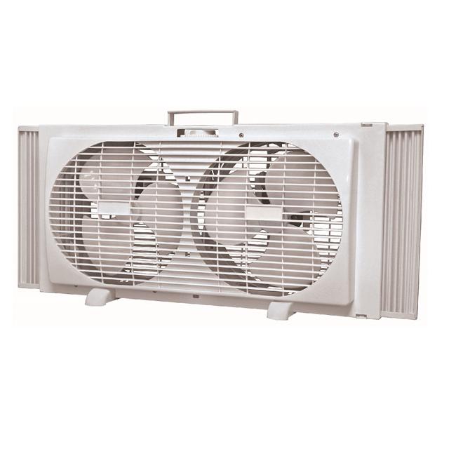 Ventilateur double pour fenêtre, 2vitesses, blanc