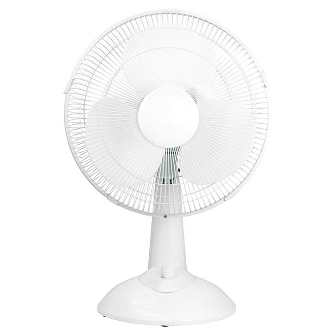 """Ventilateur de table oscillant, 3 vitesses, 12"""", blanc"""