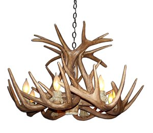 Reproduction WhiteTail Antler 6-Light Chandelier - Brown