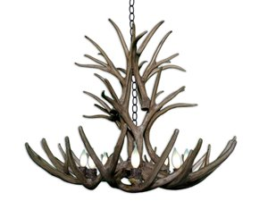 Reproduction Mule Deer 8-Light Chandelier - Brown