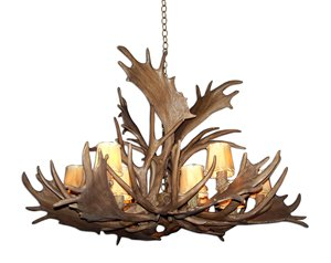 Reproduction 12-Light Deer Antler Chandelier - Brown