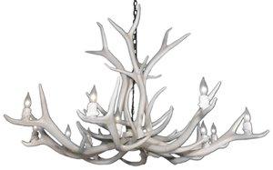 Chandelier en faux bois de wapiti, 12 lumières, blanc
