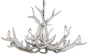 Reproduction 12-Light  Elk Antler Chandelier - White