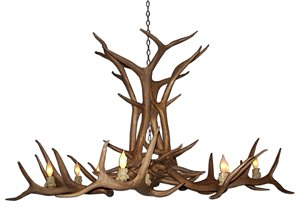 Reproduction 12-Light Elk Antler Chandelier - Brown