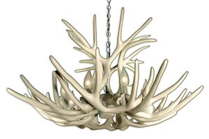 Reproduction Mule Deer Antler 8-Light Chandelier - White