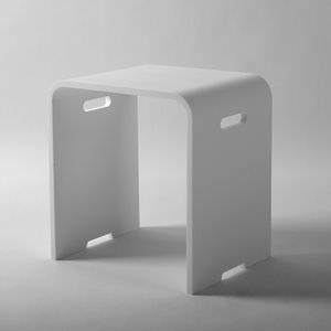 Shower Stool with Handles - Matte White