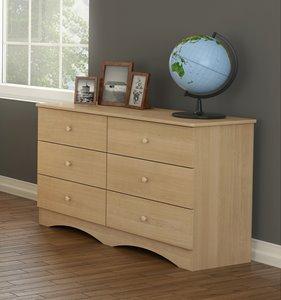 Nexera Alegria 6-Drawer Double Dresser - Natural Maple