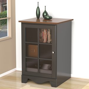 Cabinet audio Pinnacle, 1 porte, cerisier-cannelle et noir