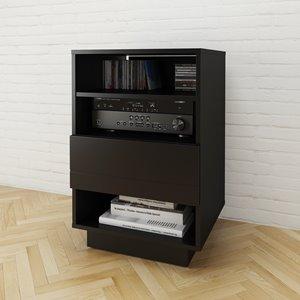 Cabinet audio Stereo, 1 tiroir, noir