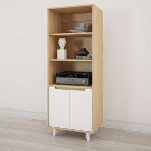Nordik Bookcase and Audio Tower - White and Natural Maple