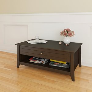 Nexera Elegance 24.13-in x 41.50-in x 17.50-in Matte Espresso Lacquer Finish Rectangular Coffee Table