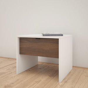 Table de nuit Nexera, 1 tiroir, blanc et noyer