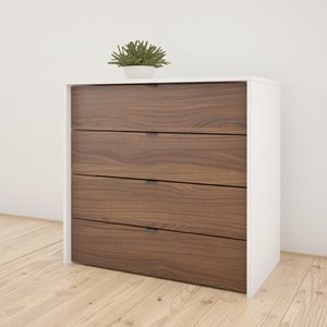 Nexera 4-Drawer Chest - White and Walnut