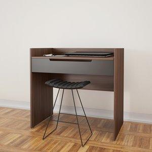 Nexera Alibi Vanity and Writing Desk - Walnut and Charcoal
