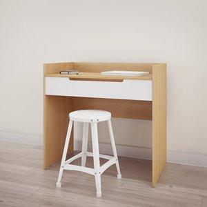 Nexera Nordik Vanity and Writing Desk - White and Maple