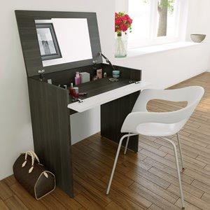 Nexera Allure Vanity and Writing Desk - Ebony and White