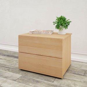 Table de nuit Nexera, 2 tiroirs, érable naturel