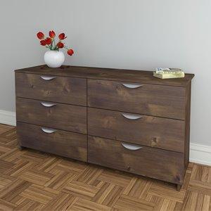Nexera Nocce 6-Drawer Double Dresser - Truffle