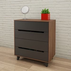 Nexera Alibi 4-Drawer Chest - Walnut and Charcoal