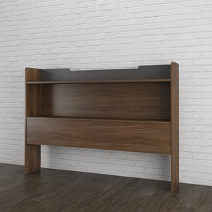 Nexera 40.00-In x 55.25-In Full Size Matte Charcoal Lacquer And Walnut Laminate Storage Headboard