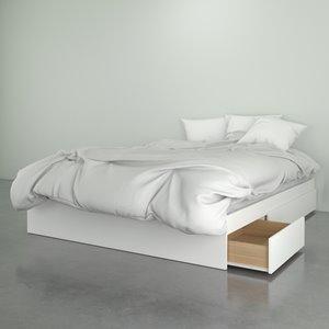 Grand lit Nexera, 3 tiroirs, blanc