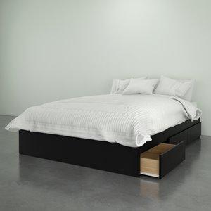 Nexera Avenue Full Size Bed - 3-Drawer - Black
