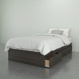 Nexera 3 Drawer Ebony 76-in x 41.13-in Twin Size Bed