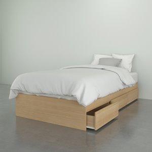 Nexera Alegria Twin Size Bed - 3-Drawer - Natural Maple