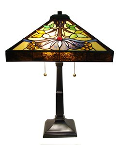 Lampe de table Mission, style Tiffany, 16