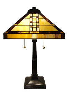 Lampe de table Mission, style Tiffany, 14