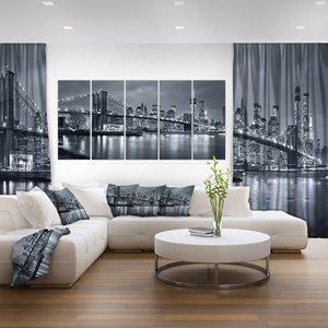 Toile imprimée New York de nuit, 5 panneaux, 60