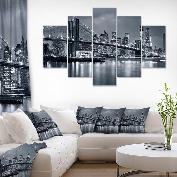 """New York City panorama de nuit, tableau, 60""""x32"""", 5 pièces"""