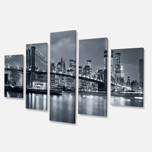 Designart Canada New York at Night Canvas Print 32-in x 60-in 5 Panel Wall Art