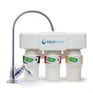 Filtre à eau potable en 3 étapes Aquasana, chromé
