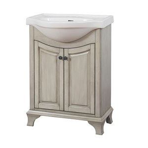 Corsicana 24-in Antique Gray Bathroom Vanity with China Top