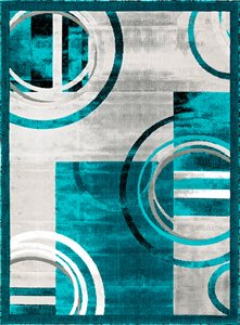 Lily Area Rug Luminance collection - Turquoise - 5'x8'