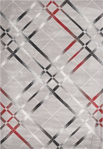 Nicole Area Rug - 5' x 8' - Grey and Red